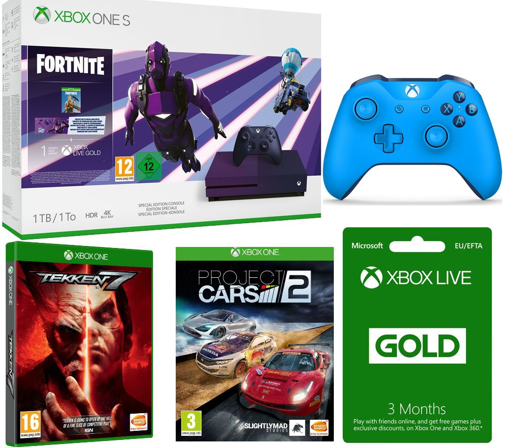 MICROSOFT Special Edition Xbox One S, Fortnite, Tekken 7, Project Cars 2, 3 Months LIVE Gold & Blue