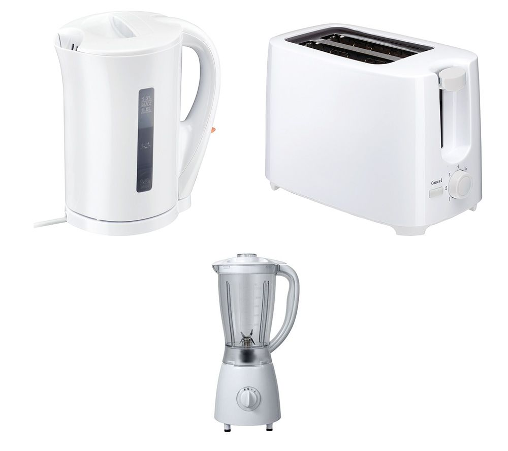 CURRYS ESS C12BW11 Blender, C17JKW17 Jug Kettle & C02TW17 2-Slice Toaster Bundle - White, White