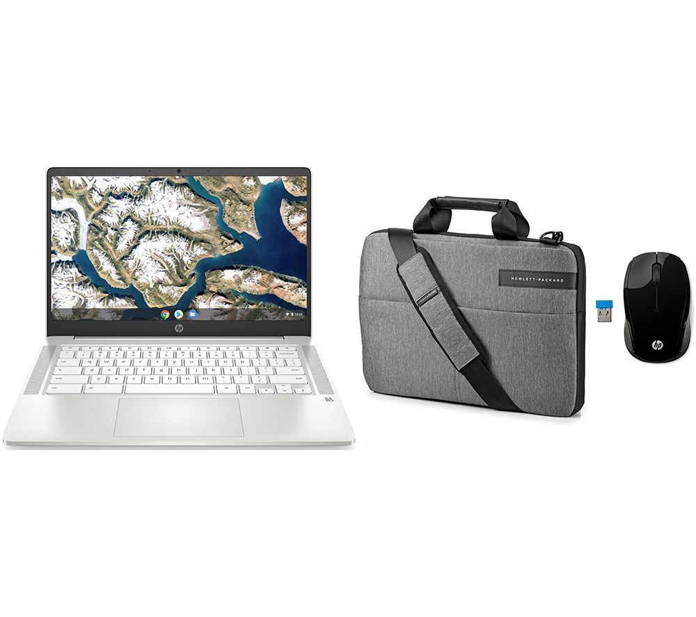 "Image of HP 14"" Chromebook, Messenger Bag & Wireless Mouse 200 Bundle - Intel®Celeron, 64 GB eMMC, Silver, Silver"