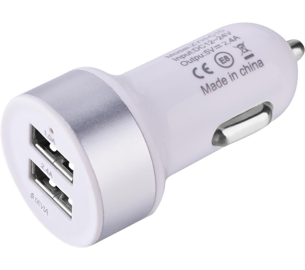 DEVIA DEV-SMRTCAR-2USBADAP-WHT Universal USB Car Charger