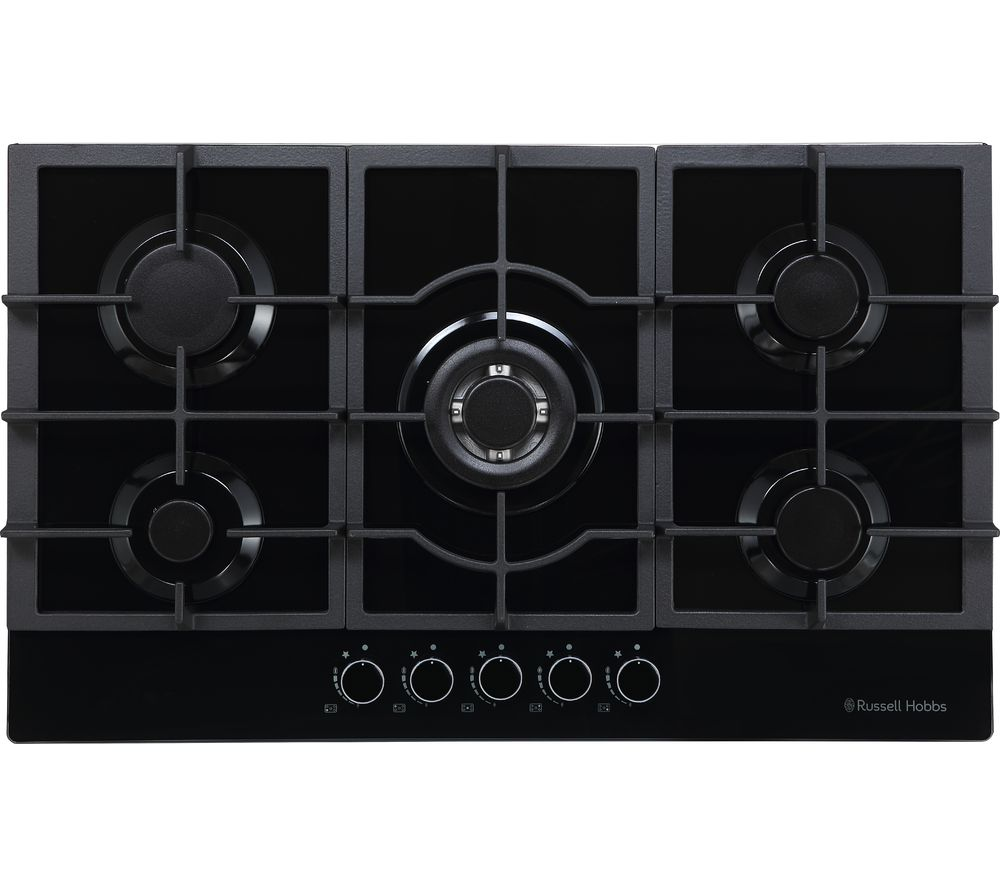 RUSSELL HOBBS RH75GH602DS Midnight Collection Gas Hob – Black Glass