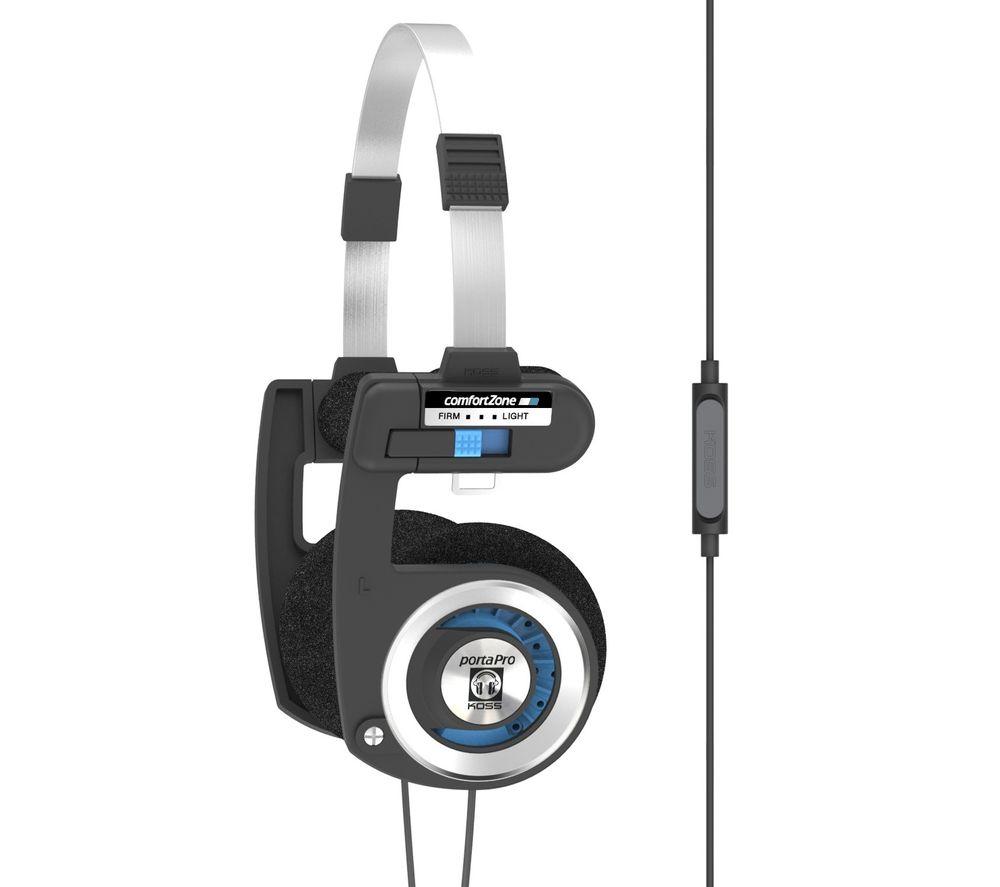 KOSS Porta Pro Mic/Remote Headphones - Black & Blue