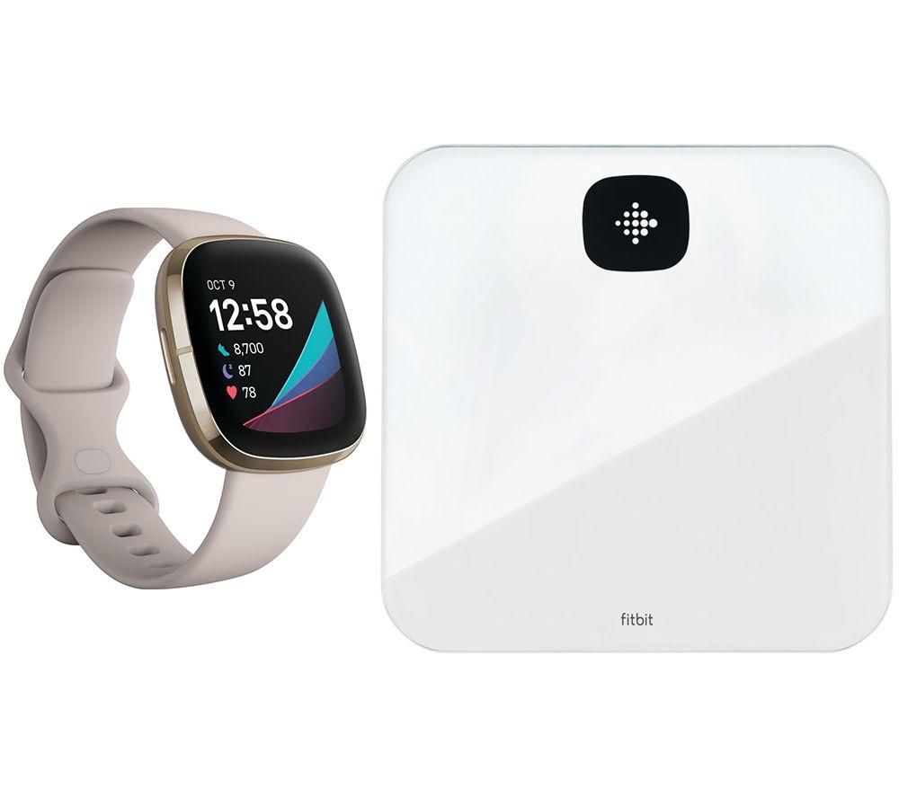 FITBIT Sense & Aria Air Smart Scale Bundle - Lunar White & Soft Gold