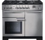 RANGEMASTER Professional Deluxe 100 Dual Fuel Range Cooker - Stainless Steel & Chrome