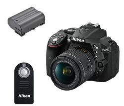 NIKON D5300 DSLR Camera with DX 18-55 mm f/3.5-5.6G VR Lens, Remote & Batteries