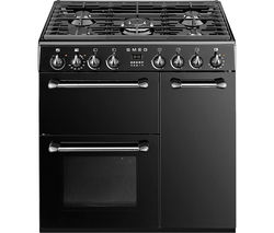 BM93BL 90 cm Dual Fuel Range Cooker - Black & Stainless Steel