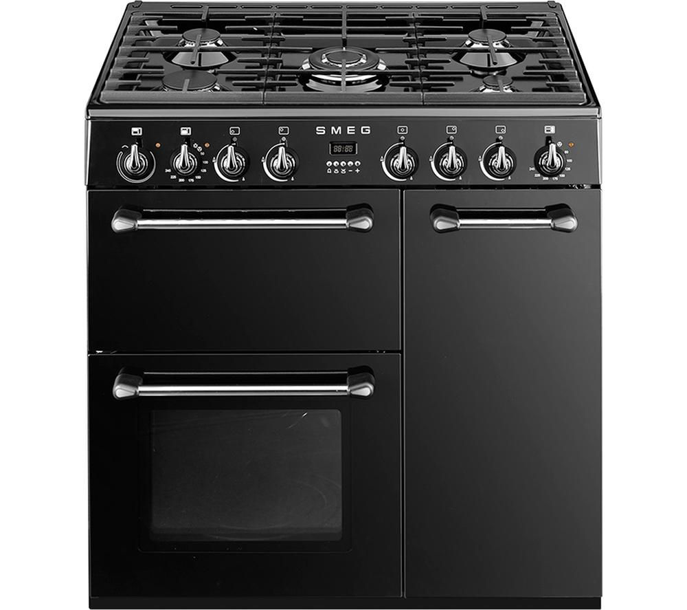 Image of SMEG BM93BL 90 cm Dual Fuel Range Cooker - Black & Stainless Steel, Stainless Steel