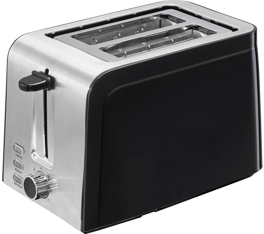 LOGIK L02TSS17 2-Slice Toaster - Black & Stainless Steel