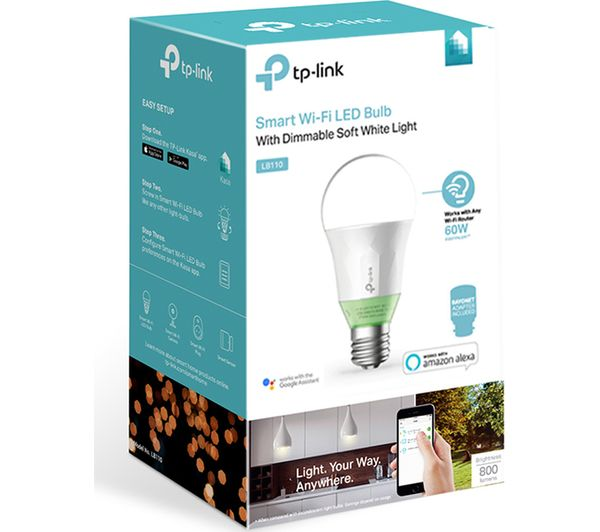 buy tp link lb110 smart wifi led bulb e27 with b22 adapter free delivery currys. Black Bedroom Furniture Sets. Home Design Ideas