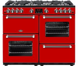 BELLING Kensington 100G Gas Range Cooker - Red & Chrome