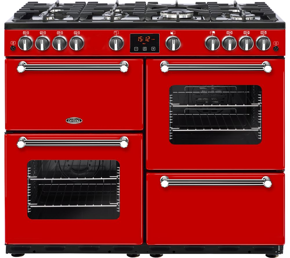 Belling Kensington 100g Gas Range Cooker Red Chrome
