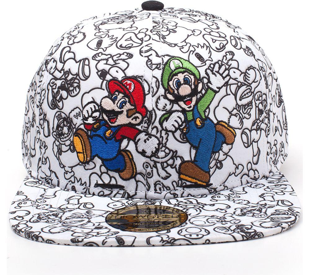 9c843c363 NINTENDO Super Mario & Luigi Snapback Cap - Black & White