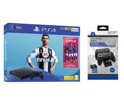 SONY PlayStation 4 500 GB with FIFA 19 & Twin Docking Station Bundle