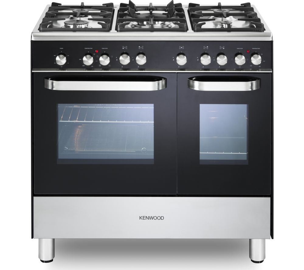 KENWOOD CK405-1 90 cm Dual Fuel Range Cooker - Black & Chrome, Black