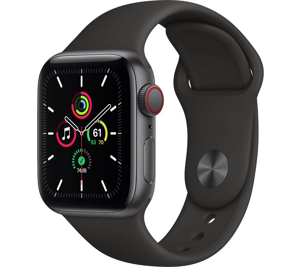 APPLE Watch SE Cellular - Space Grey Aluminium with Black Sports Band, 40 mm
