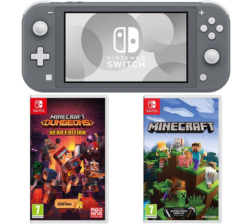 NINTENDO Switch Lite with Minecraft & Minecraft Dungeons Bundle - Grey