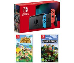 Switch, Animal Crossing: New Horizons & Minecraft Bundle - Neon Red & Blue