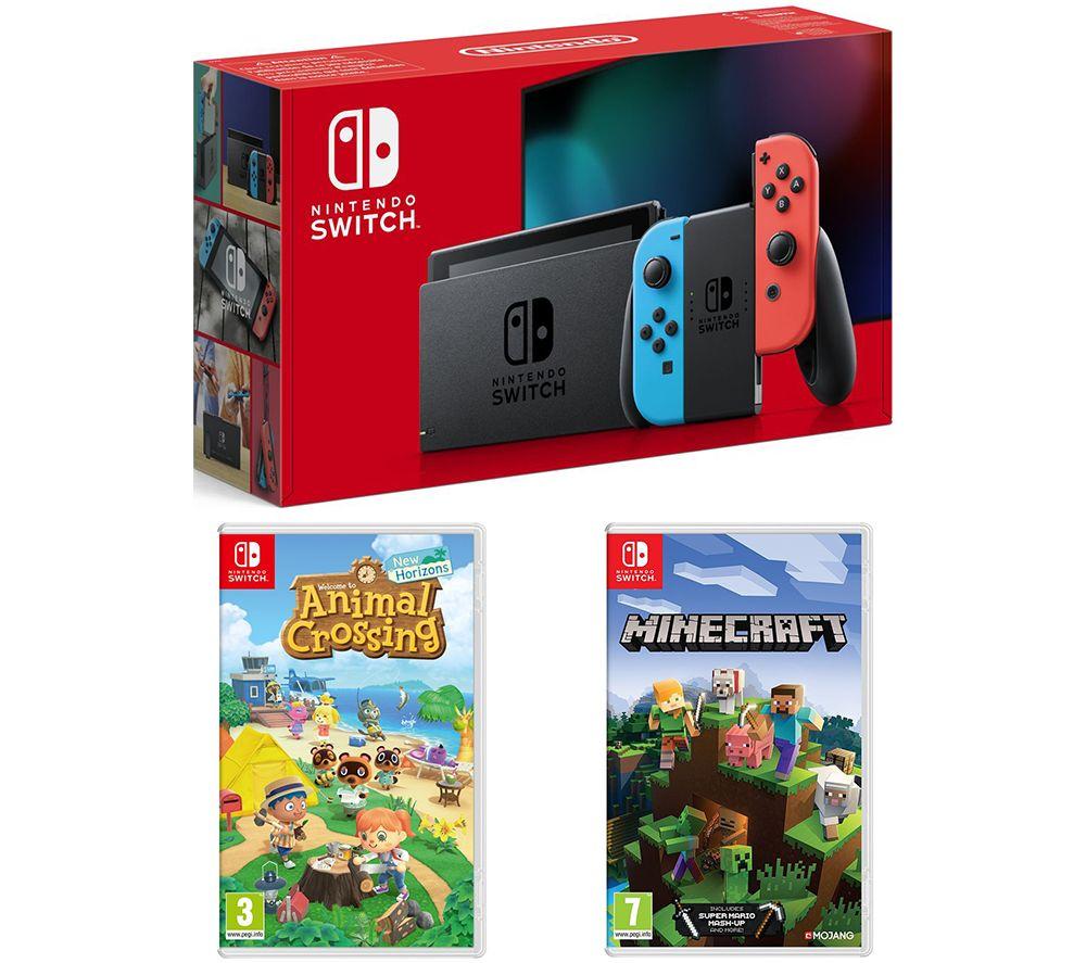 NINTENDO Switch, Animal Crossing: New Horizons & Minecraft Bundle - Neon Red & Blue