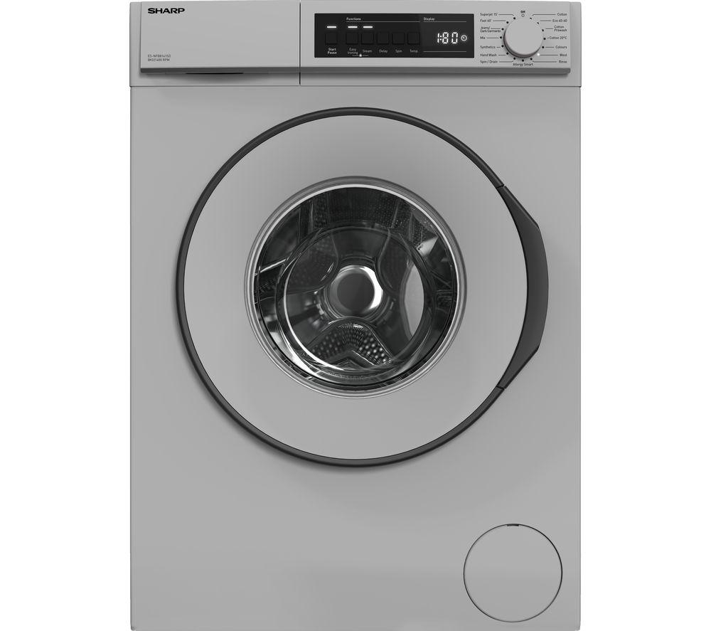 SHARP ES-NFB8141SD 8 kg 1330 Spin Washing Machine - Silver, Silver