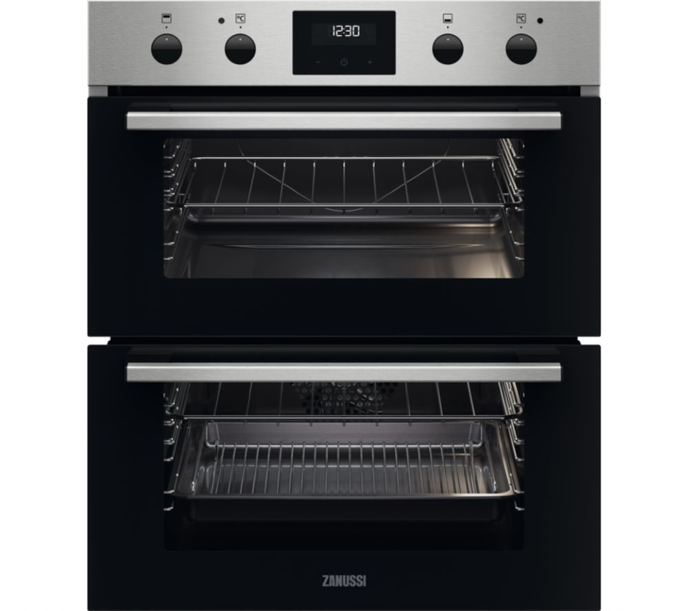ZANUSSI FanCook ZPHNL3X1 Electric Built-under Double Oven - Stainless Steel, Stainless Steel