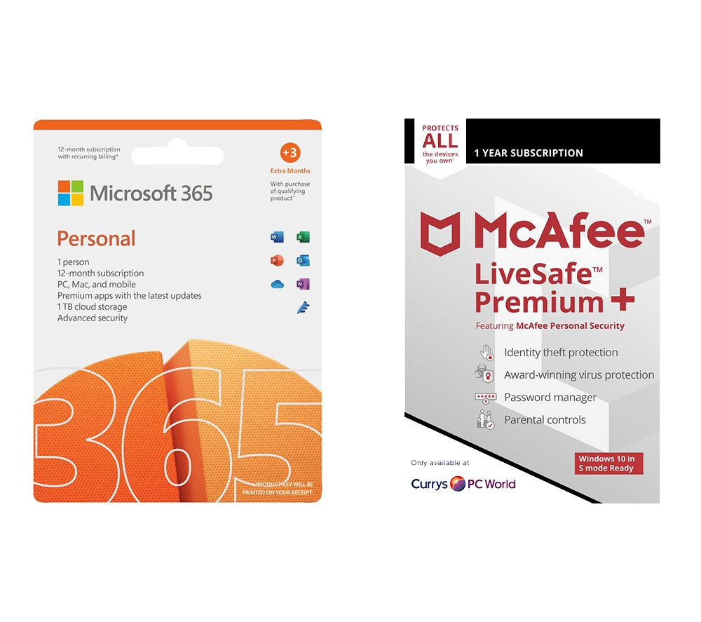 Image of MICROSOFT 365 Personal (1 year for 1 user 3 Months Extra Time) & LiveSafe Premium (1 year for unlimited devices) Bundle