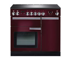 RANGEMASTER Professional+ 90 Electric Induction Range Cooker - Cranberry & Chrome Best Price, Cheapest Prices