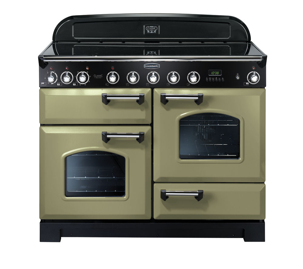 RANGEMASTER Classic Deluxe 110 Electric Induction Range Cooker - Olive Green & Chrome