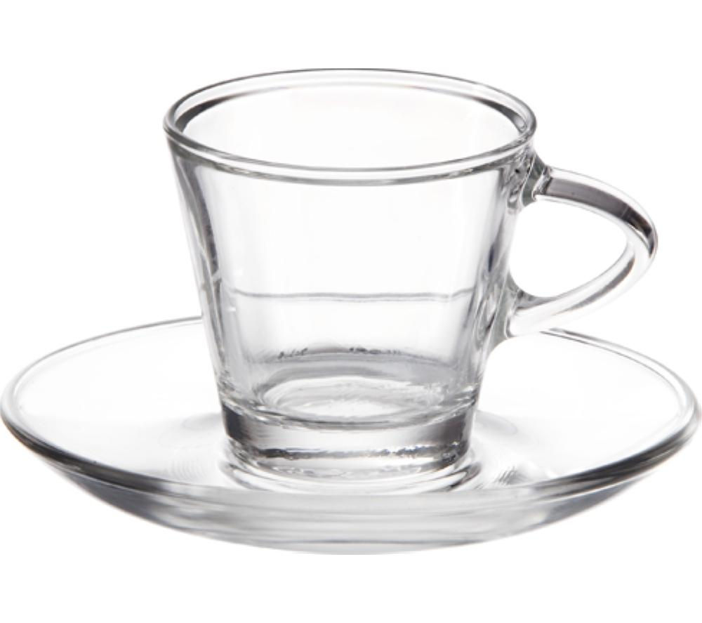 EDDINGTONS 47122303 Clear Espresso Glasses & Saucers - Set of 2