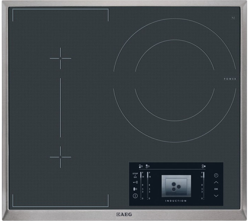 AEG HK683320XG Electric Induction Hob - Black + HD8510-M Chimney Cooker Hood – Stainless Steel
