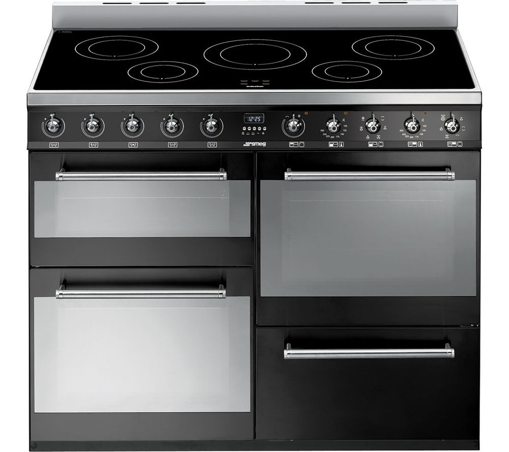 Image of SMEG Symphony SYD4110IBL 110 cm Electric Induction Range Cooker - Black & Stainless Steel, Stainless Steel