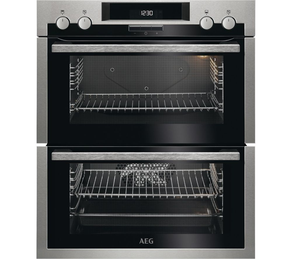 AEG SurroundCook DUE431110M Electric Built-under Double Oven - Stainless Steel & Black