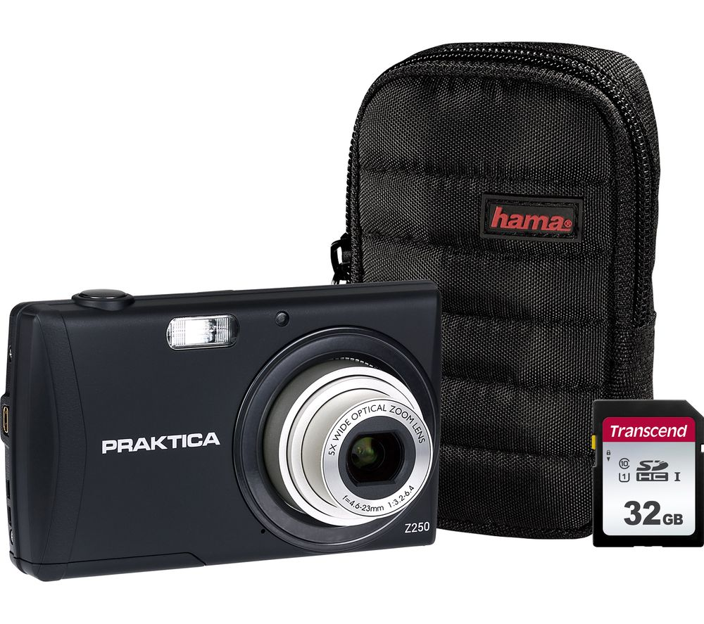 PRAKTICA Luxmedia Z250-BK Compact Camera, Case & 32 GB Memory Card Bundle - Black