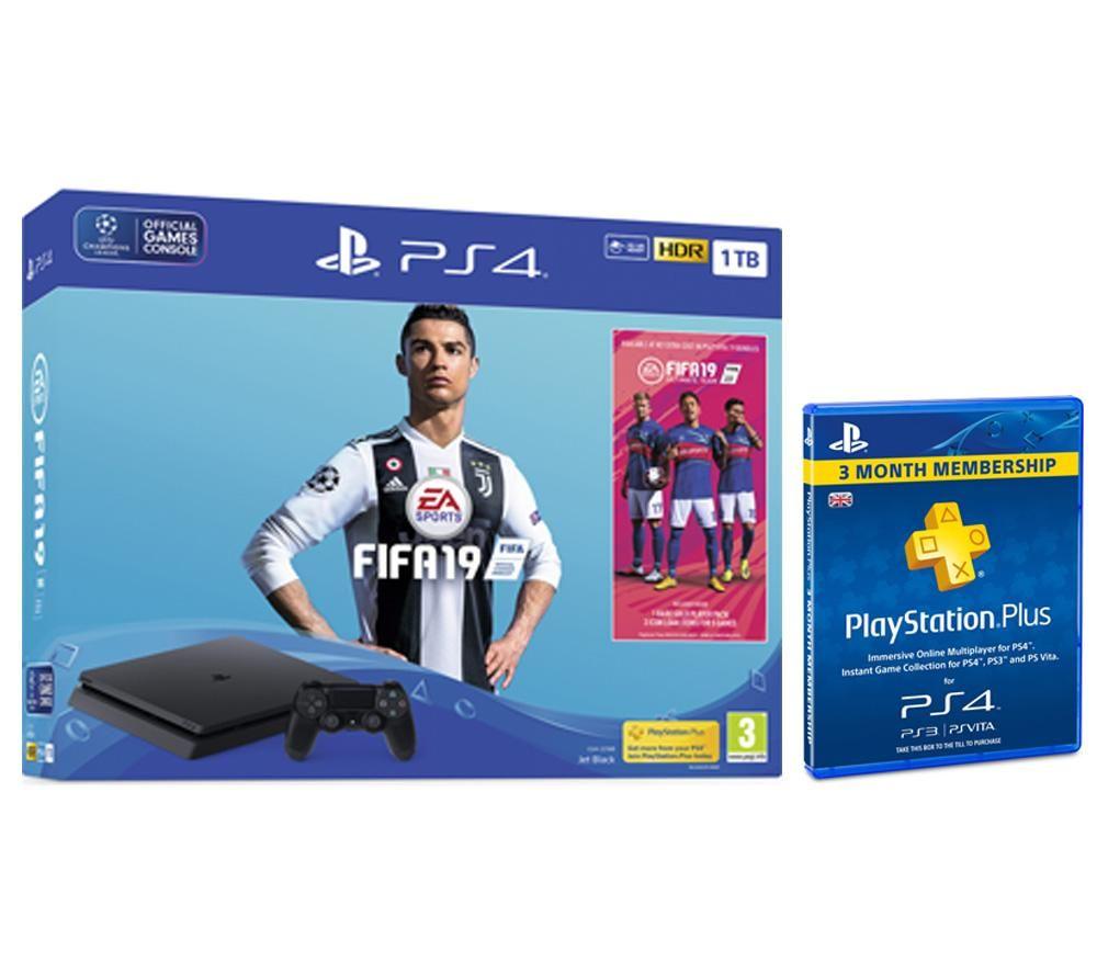 PlayStation 4, FIFA 19 & PlayStation Plus 3 Month Subscription Bundle - 1 TB