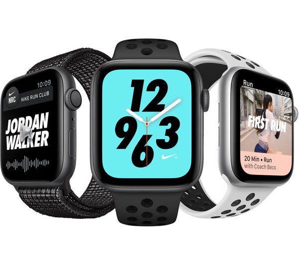 APPLE Watch Series 4 Nike+ - Platinum & Black Sports Band, 44 mm