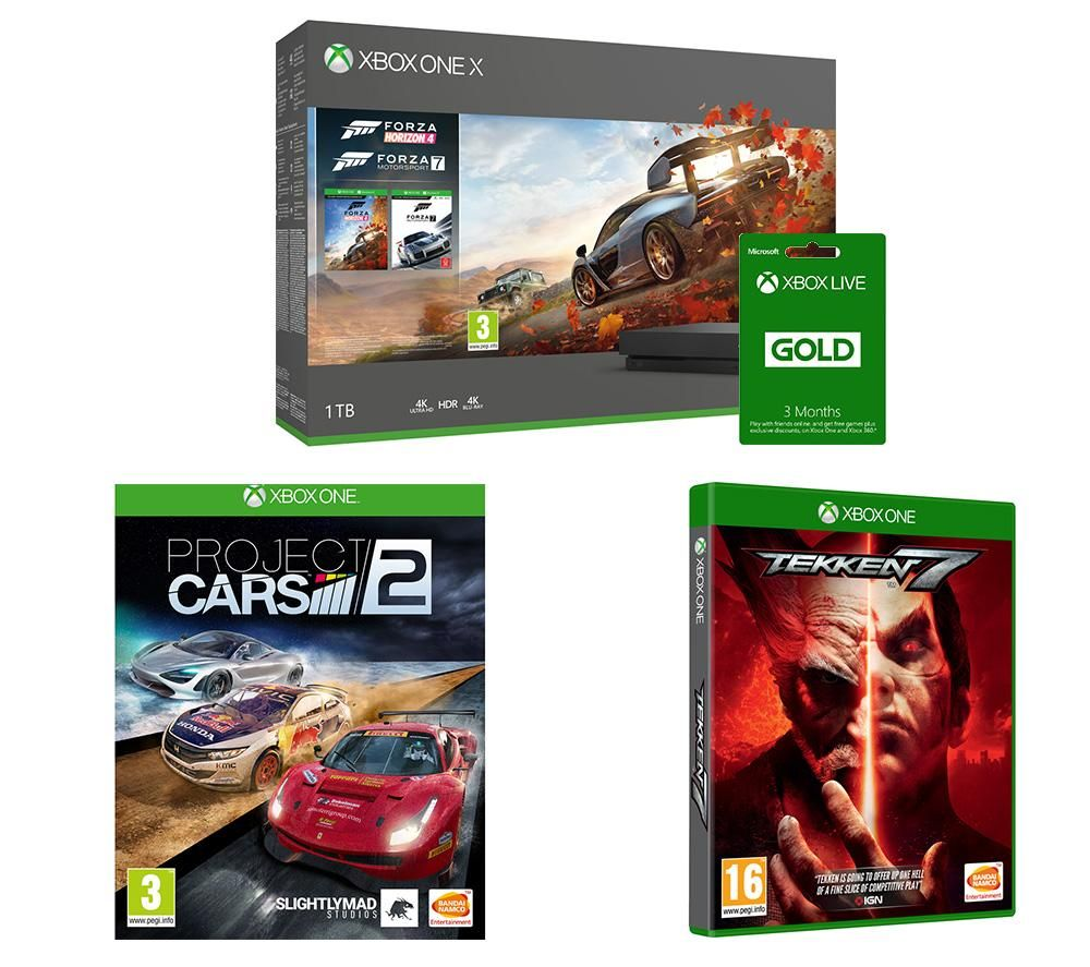 Image of MICROSOFT Xbox One X, Forza Horizon 4, Forza Motorsport 7, Tekken 7, Project Cars 2 & Xbox LIVE Gold Bundle, Gold