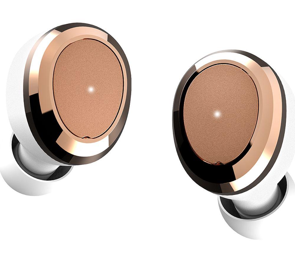 DEAREAR Oval Wireless Bluetooth Headphones - White & Gold