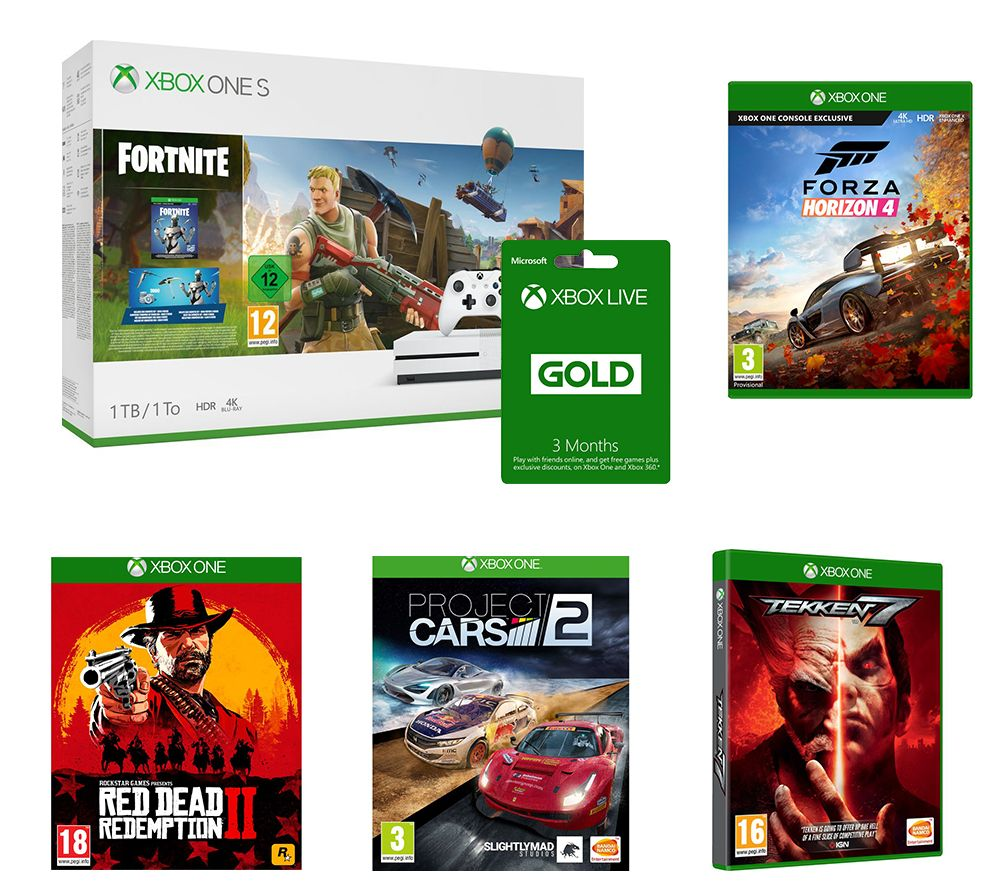 Image of MICROSOFT Xbox One S, Fortnite Battle Royale, Project Cars 2, Forza Horizon 4, Tekken 7, Red Dead Redemption 2 & Xbox LIVE Gold Bundle, Red