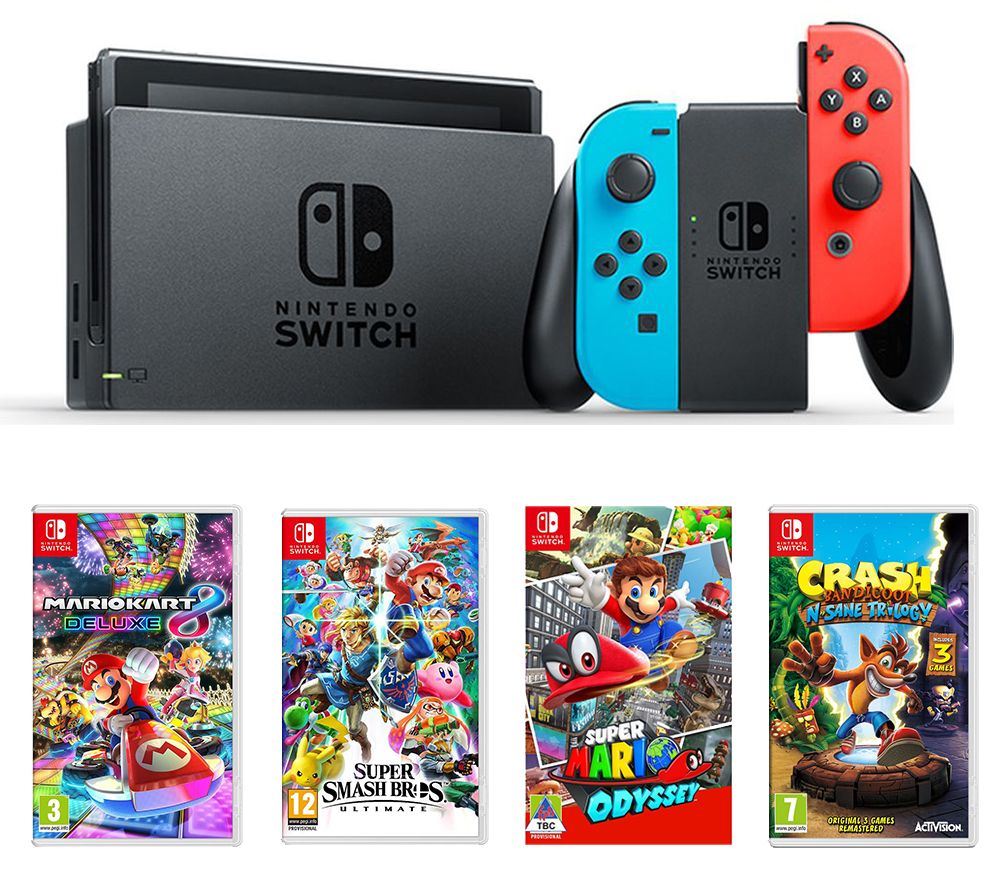 NINTENDO Switch Neon Red & Blue, Super Smash Bros. Ultimate, Crash Bandicoot N-Sane Trilogy, Mario Kart 8 Deluxe & Super Mario Odyssey Bundle