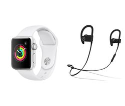APPLE Watch Series 3 & Powerbeats3 Wireless Bluetooth Headphones Bundle - Silver & White Sports Band, 42 mm