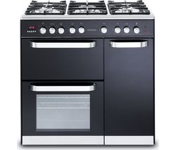 KENWOOD CK503-1 90 cm Dual Fuel Range Cooker - Black & Chrome Best Price, Cheapest Prices