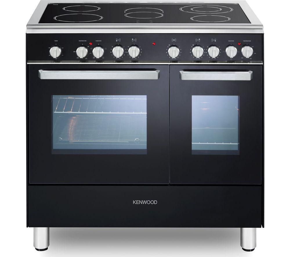 Image of CK418 90 cm Electric Ceramic Range Cooker - Black & Chrome, Black