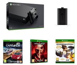 MICROSOFT Xbox One X, Tekken 7, Overwatch, Project Cars 2 & Charge Kit Bundle