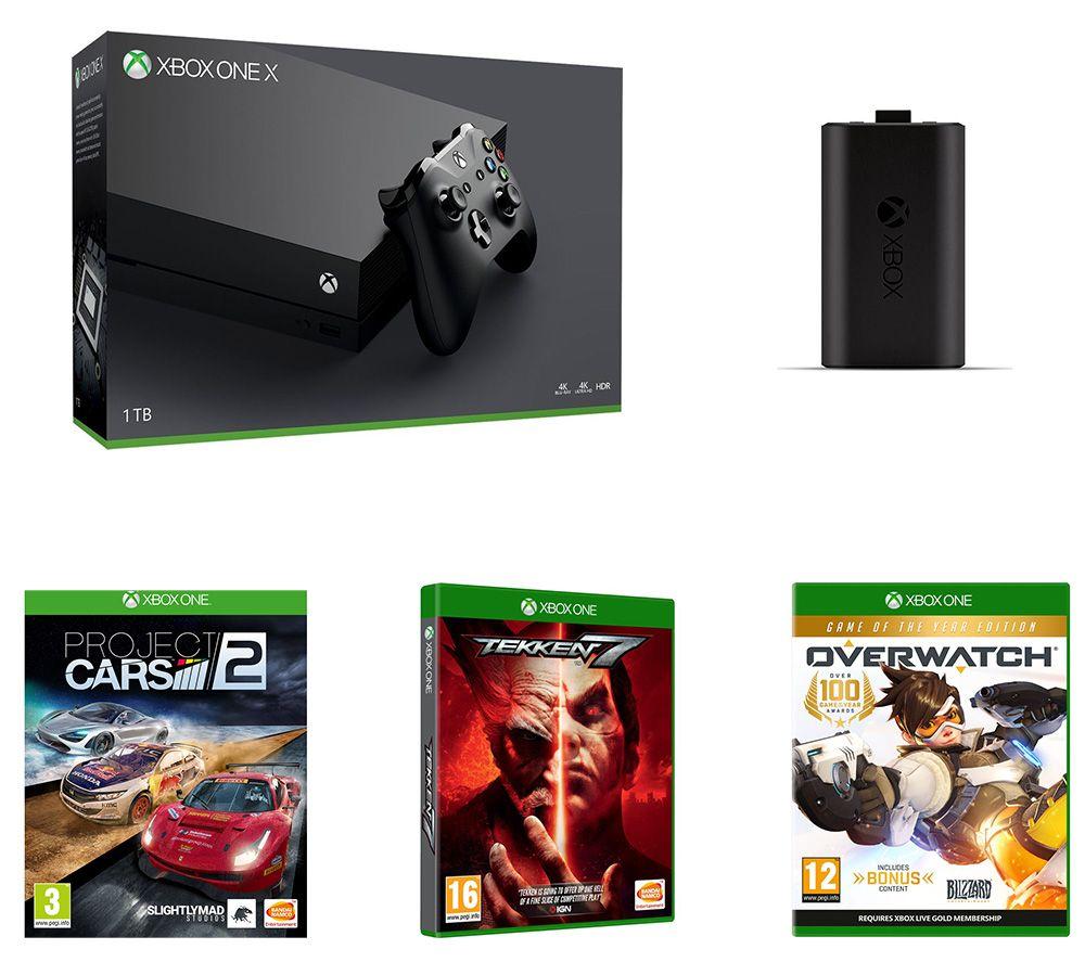MICROSOFT Xbox One X, Tekken 7, Overwatch, Project Cars 2 & Charge Kit Bundle