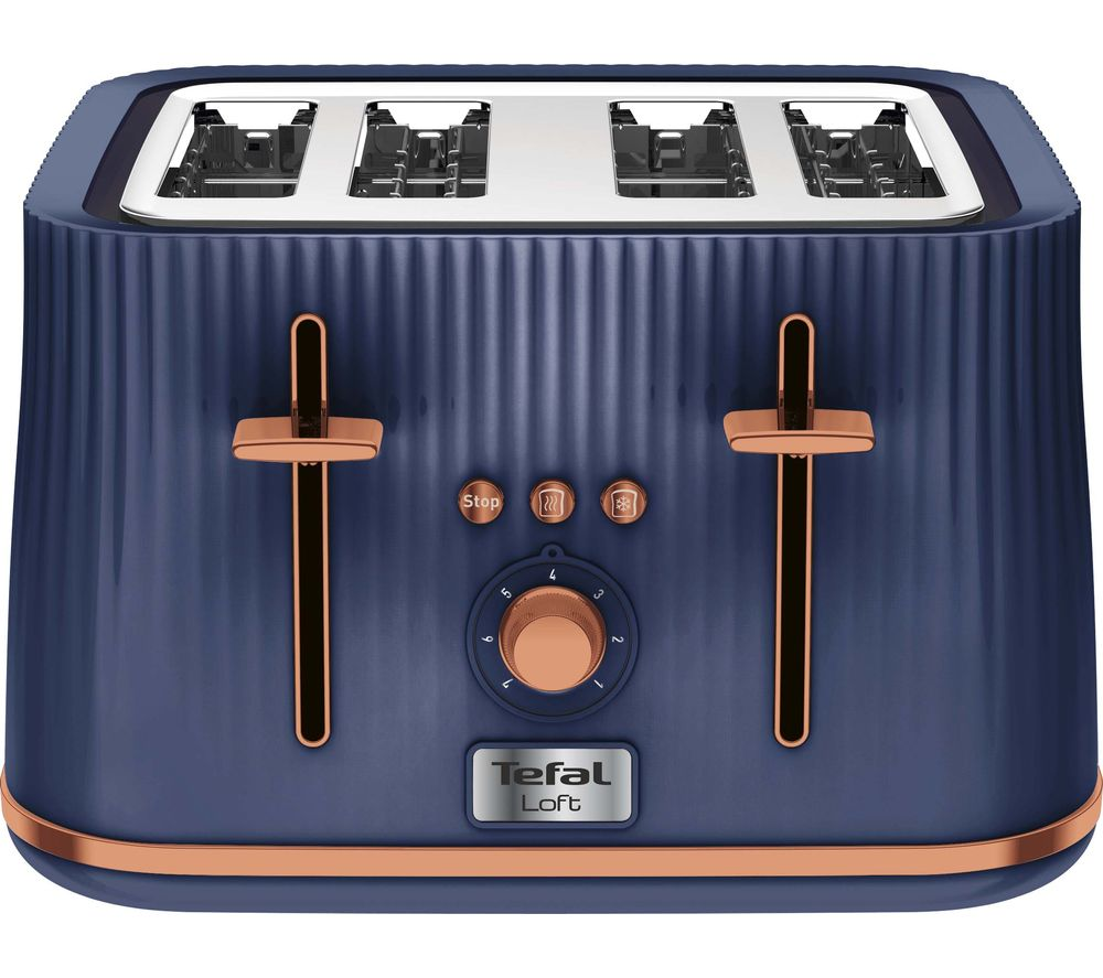 TEFAL Loft TT760440 4-Slice Toaster - Blue & Rose Gold