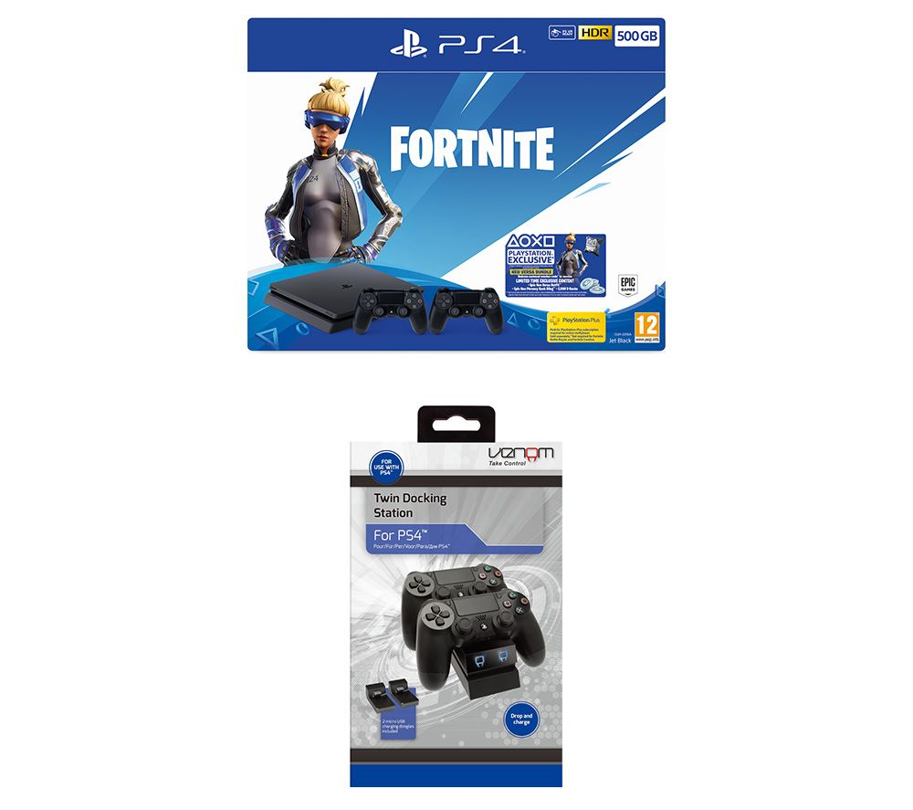 SONY PlayStation 4 with Fortnite Neo Versa & Twin Docking Station Bundle - 500 GB, Red