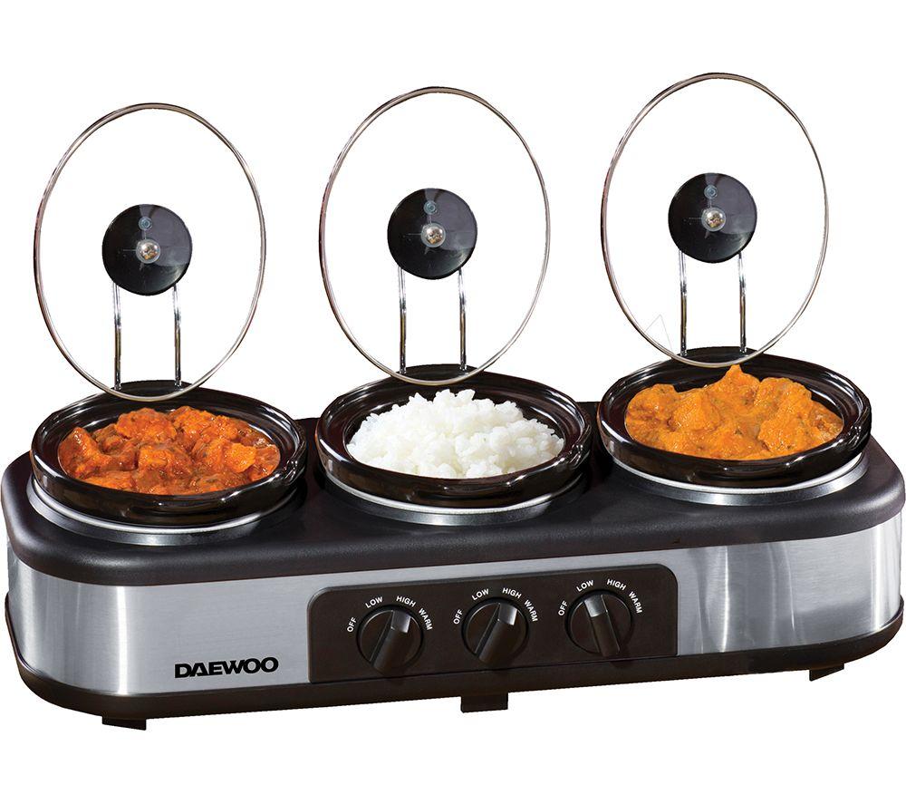 DAEWOO SDA1334 Slow Cooker - Black & Silver