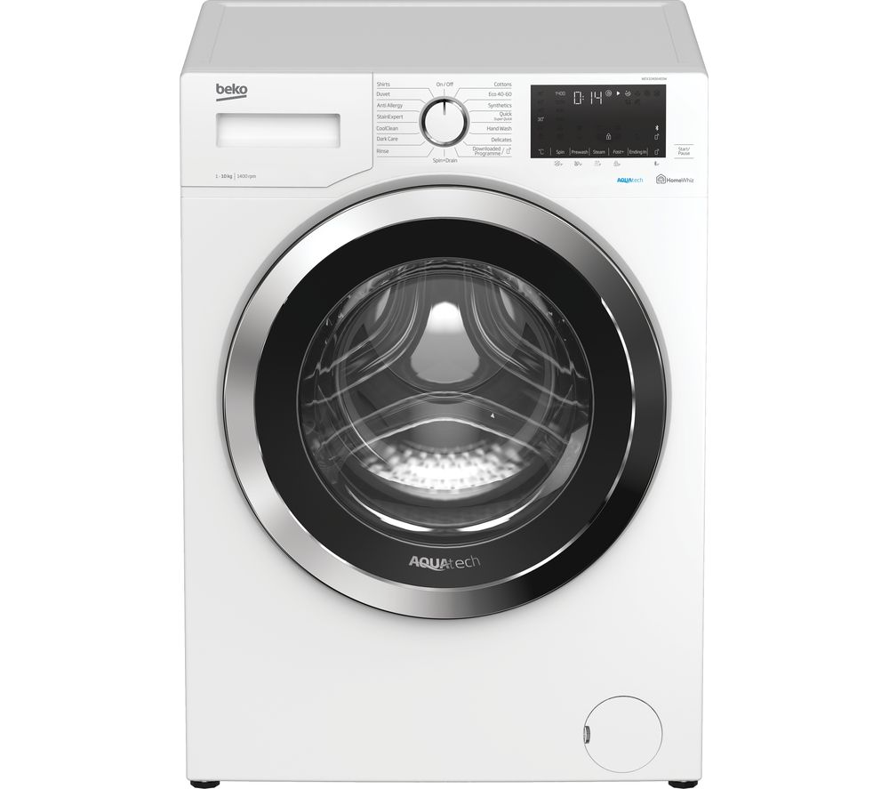 BEKO AquaTech WEX104064E0W Bluetooth 10 kg 1400 Spin Washing Machine - White