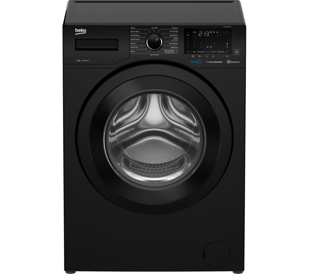 BEKO WEX840530B Bluetooth 8 kg 1400 Spin Washing Machine - Black