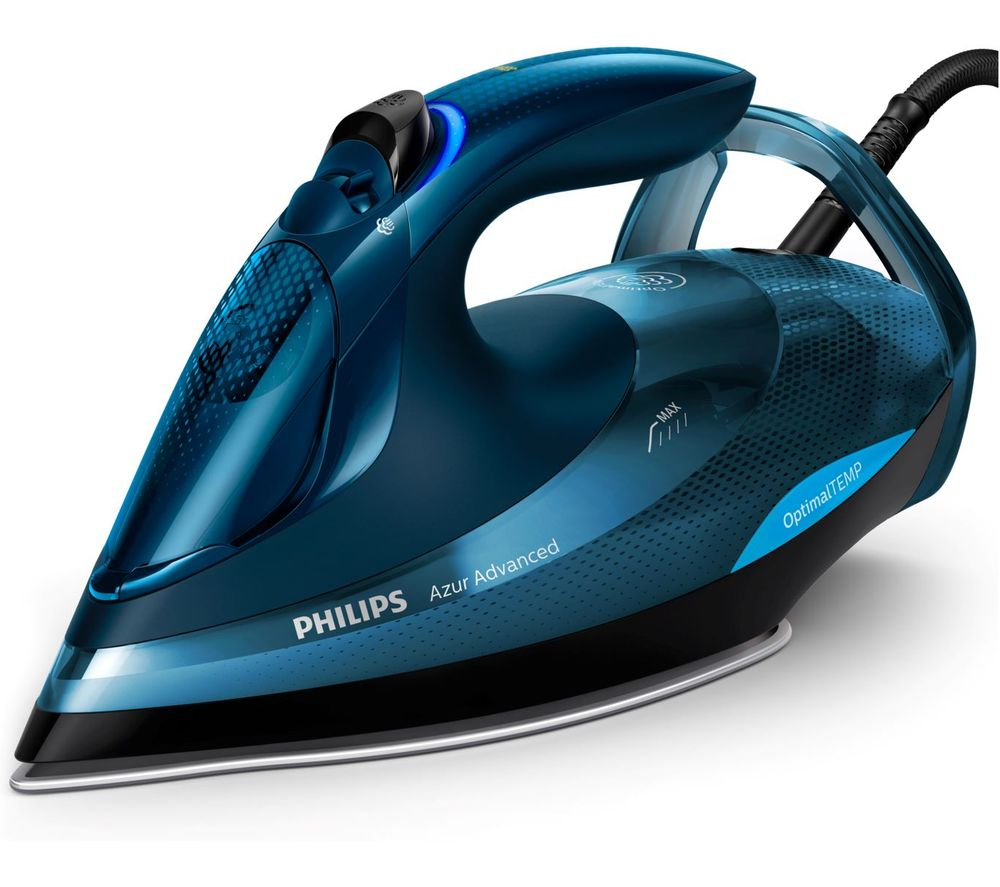 Philips Azur Advanced Steam Iron with OptimalTEMP, 240g steam boost, 3000W and  smart Quick Calc Release -  GC4938/20