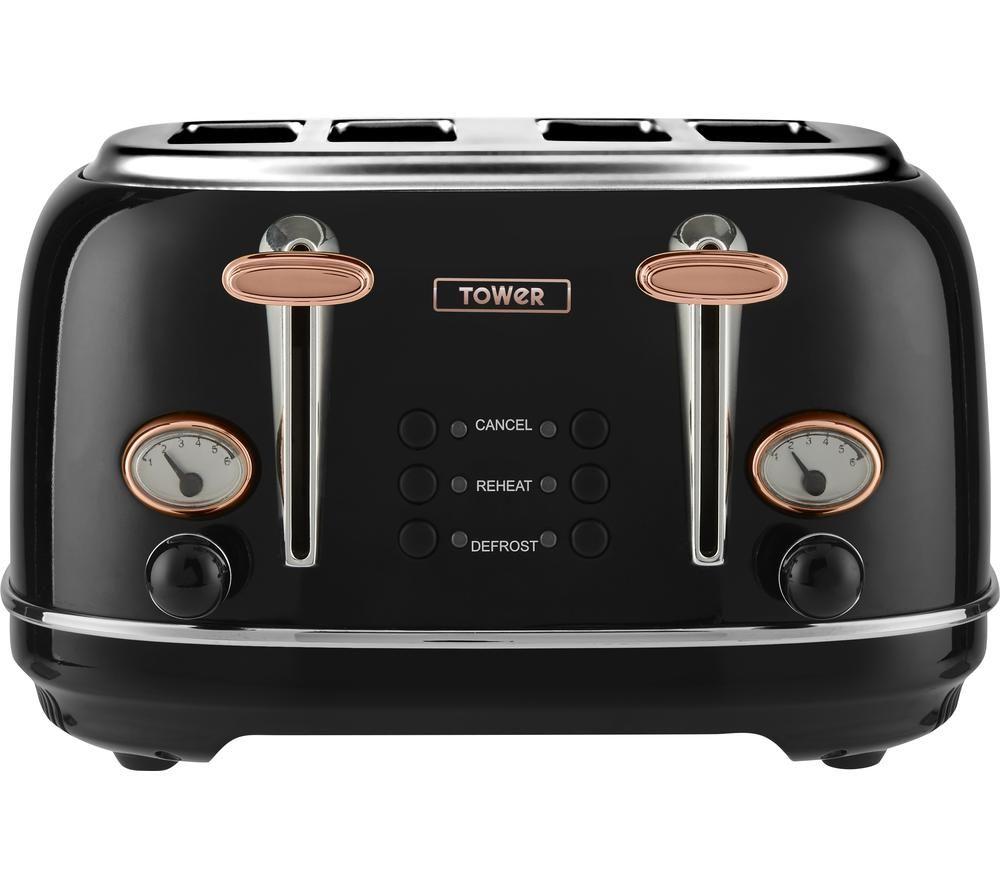 TOWER Bottega T20017 4-Slice Toaster - Black, Black